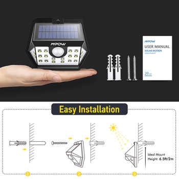 Mpow CD149 20 LED Solar Light Super Bright Lights Waterproof Outdoor Lamp With Sensitive Motion Sensor For Garden Garage Pathway