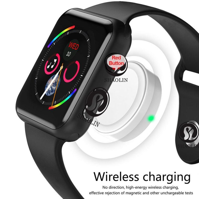 Reloj inteligente Serie 4 reloj inteligente para Apple iOS iPhone Android reloj de pulsera deportivo Bluetooth pulsera Fitness Tracker (botón rojo) - 5