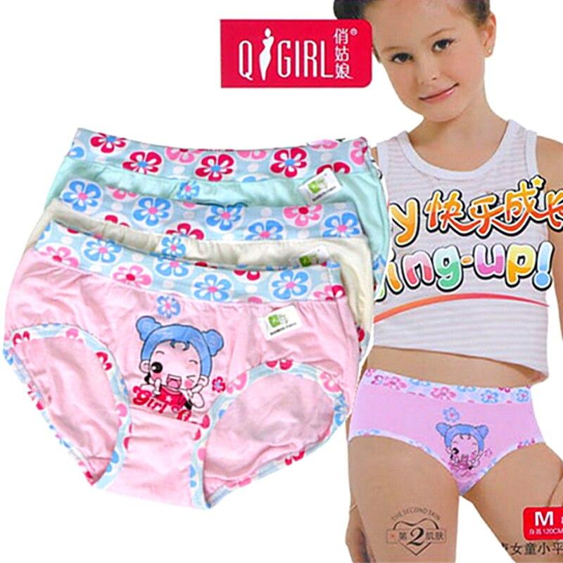 4pieces  Free Shipping Top Quality Comfortable Girls Underwear Bamboo Cute Children Underwear Girls Panties Kids Underwear M-XXL