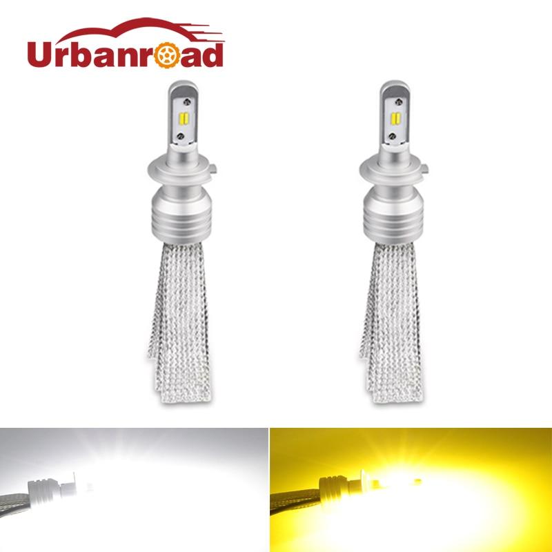 Urbanroad 2Pcs 12v Car Headlight Led h7 Lamp Bulb 3000k 6000k 12v H7 White Headlight 20000lm Super Bright Headlamp Light Bulb h7 6w 440lm 2 led white light car angle eyes decoding headlamp 2 pcs 12v