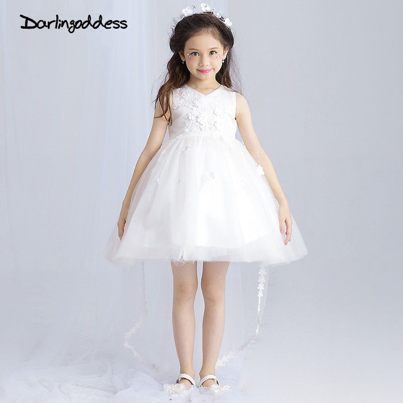 2017 White Flower Girl Dresses High Low V Neck Lace Tulle Ball Gown Kids Wedding Party Dress holy communion dresses Real Photo
