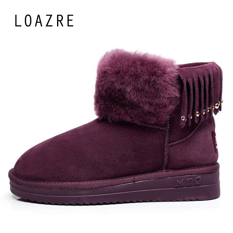 100 natural wool fur genuine leather sheepskin shearling font b women b font snow boots warm