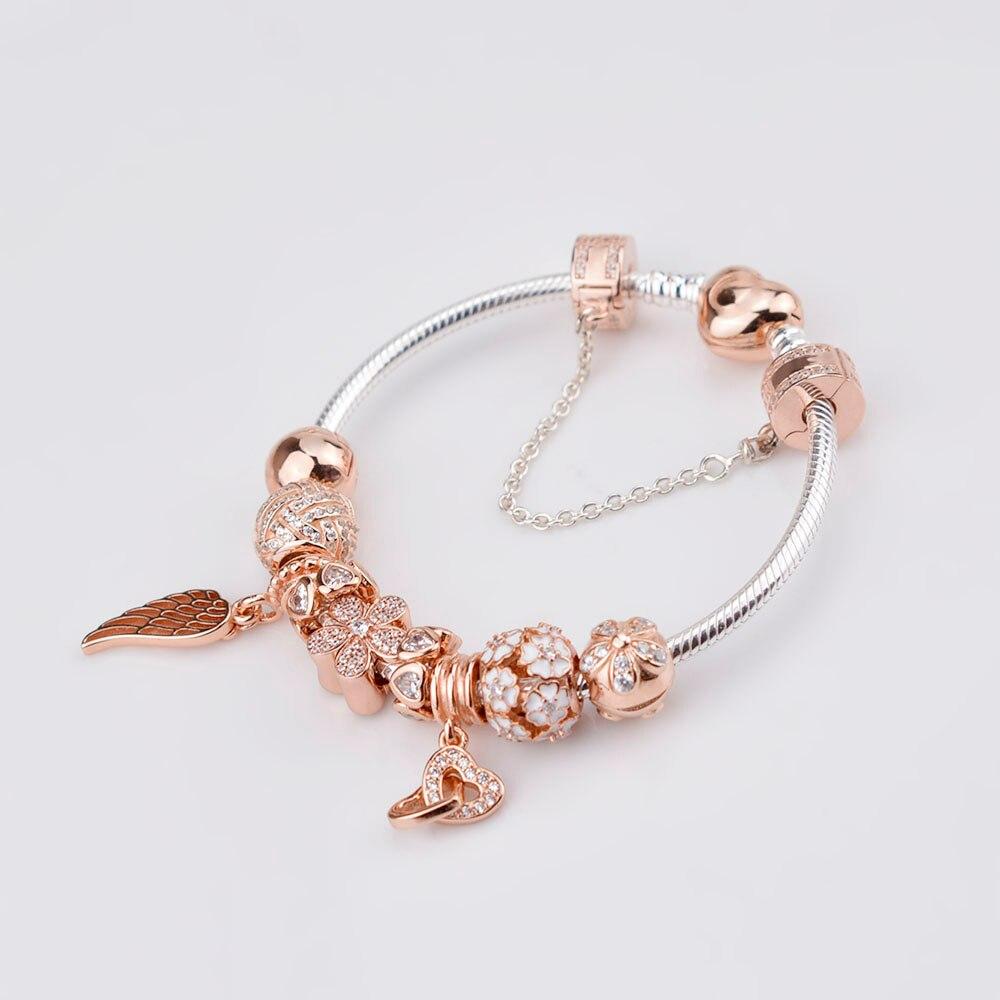 SIEMTO 100% 925 Sterling Argent Bracelet Pour Ensemble Femmes Rose d'or Perle de charme Bijoux bricolage Bracelet Livraison Gratuite