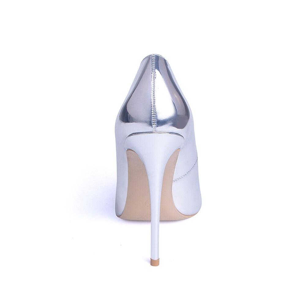 GENSHUO Women Pumps High Heels Silver Sexy High Heels Shoes for Women Stilettos Fashion Luxury Wedding Party Shoes Big Size 9