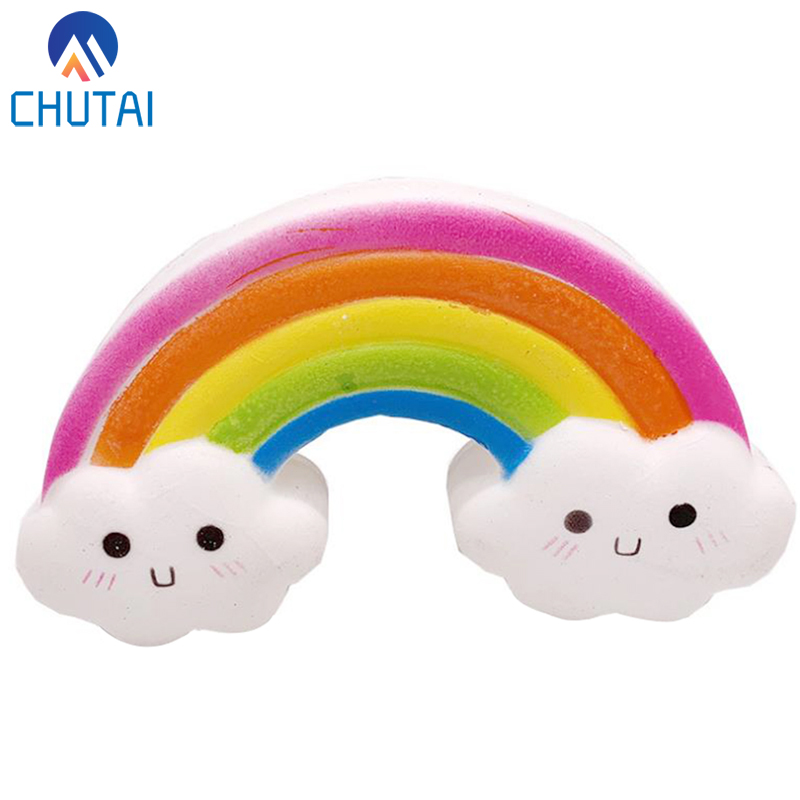 Kawaii Smiley Rainbow Squishy Slow Rising Simulation Bread Cake Soft Scented Stress Relief Squeeze Toys 15.5x8.5 CM