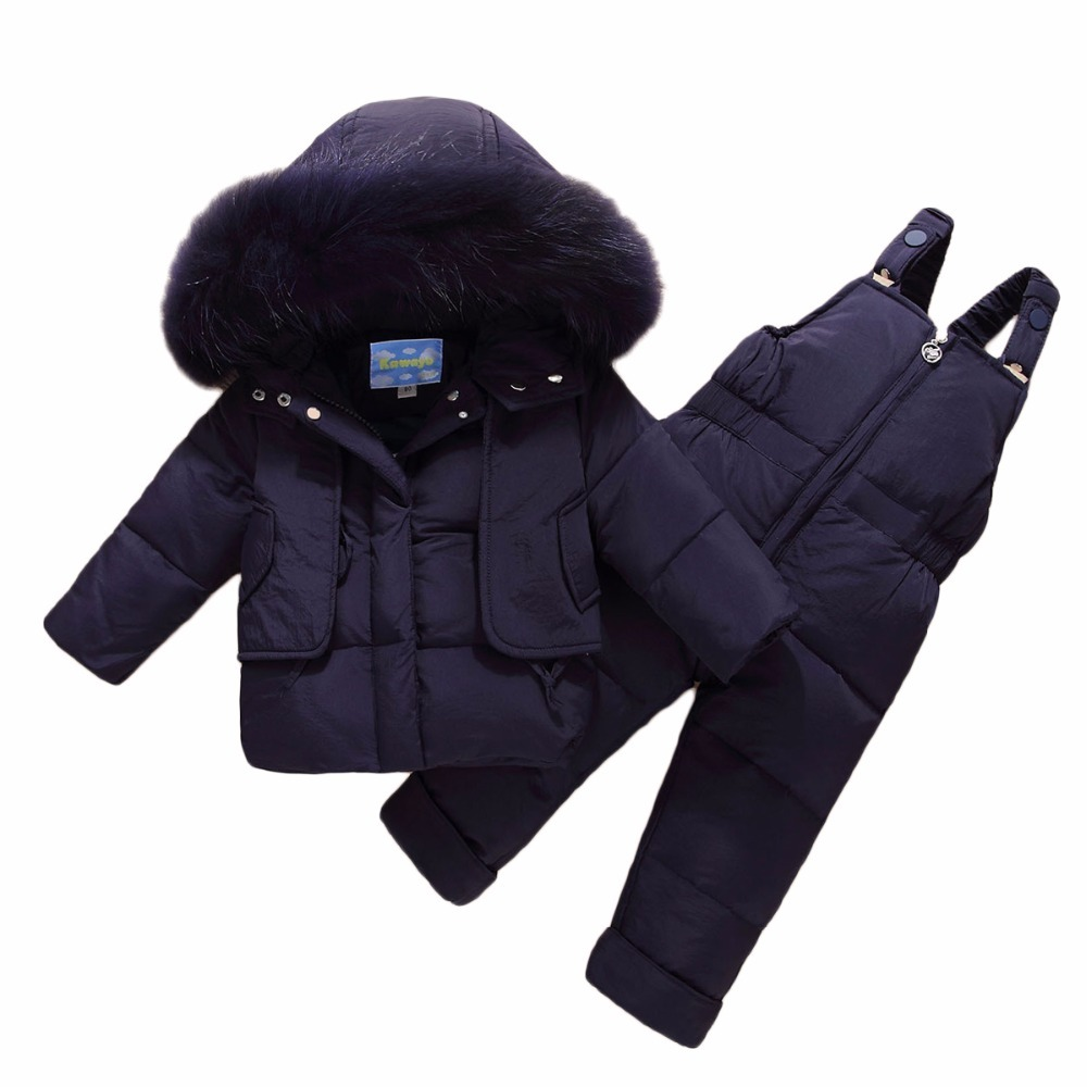Winter Boys Girls Duck Down Warm Thicken Coats Pants Infant Costume Children Clothing Sets Baby Girls Boys Clothes Suits H334 hylkidhuose 2018 baby girls boys winter clothes suits children clothes suits white duck down thicken coats bib pants kids suits