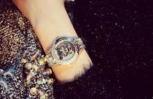 2017 New Women Rhinestone Watches Fashion Lady Diamond Stone Dress Watch Stainless Steel Big Dial Wristwatch lady Crystal Watch