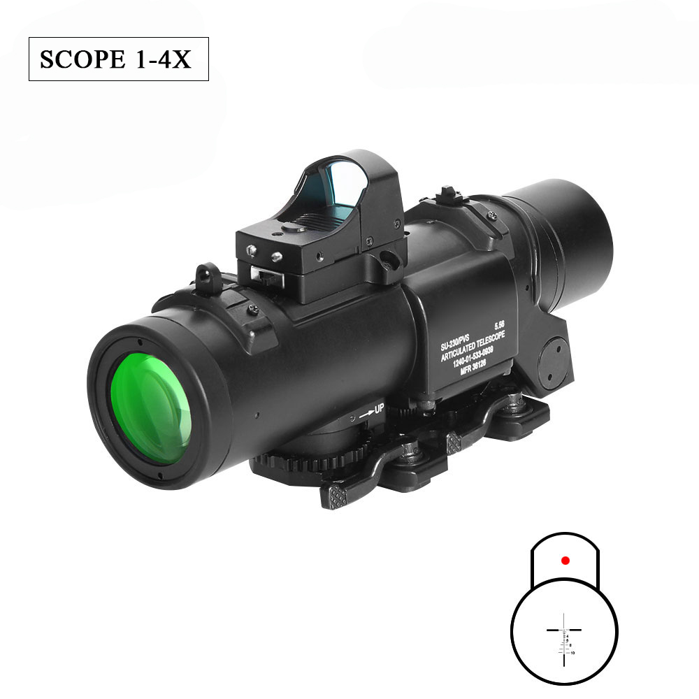 Tactical 4x Fixed Dual Sight Red And Green Dot Illumination Sight Optical Range Airsoft Rifle Hunting Shot For Outdoor Hunting