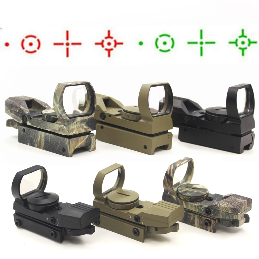 3 Color Hunting Red/Green Dot 1x22x33 Optical Sight Scope Fit Picatinny Rail Mounts 20mm/11mm