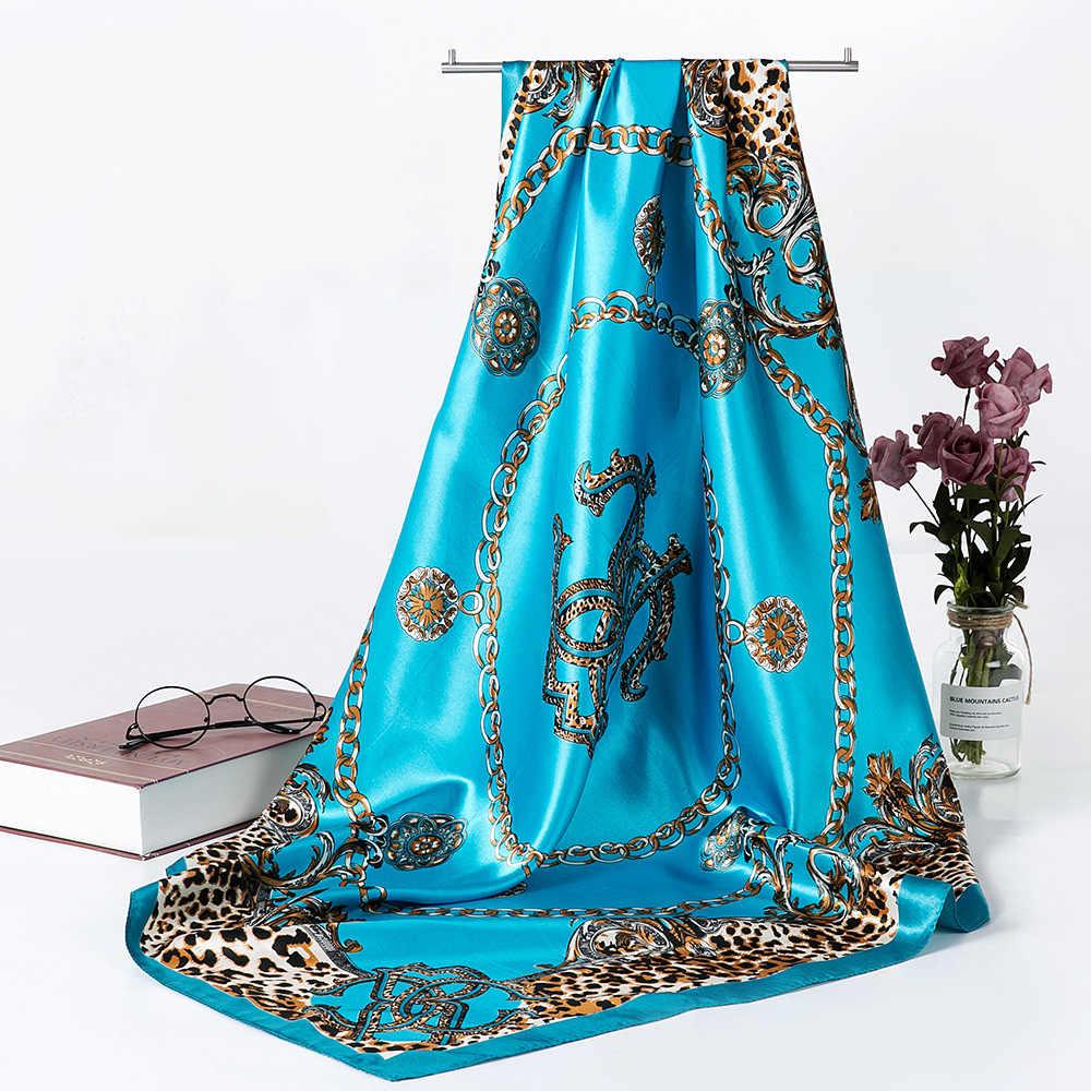 Scialle Della Sciarpa di Modo per Le Donne di Stampa Raso di Seta Hijab Sciarpe Femminile 90 Cm * 90 Centimetri di Lusso di Marca Scialli Quadrati sciarpe per Le Signore 2019
