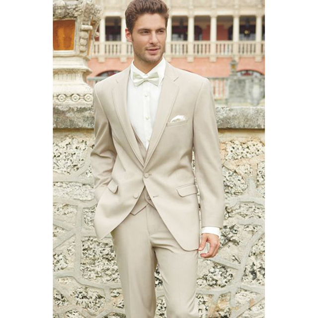 Men Wedding Suit 2017 Light Khaki Mens Suits Slim Fit Groom ...
