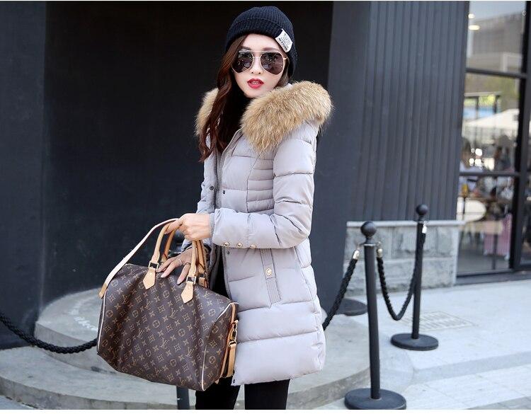 hlmfs 2017 новый пальто и куртки с капюшоном зима снег куртка женщин меховой воротник пальто зимы женщин длинные хлопка мягкой пальто