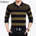 2017 New High-grade Business Casual Mens T Shirts Fashion Stripe Long Sleeve T Shirt Mens Clothing Turn-down Collar T-Shirt