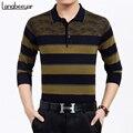 2017 nuevo de alta calidad business casual para hombre t shirts moda raya de manga larga t shirt mens clothing turn-abajo de la camiseta