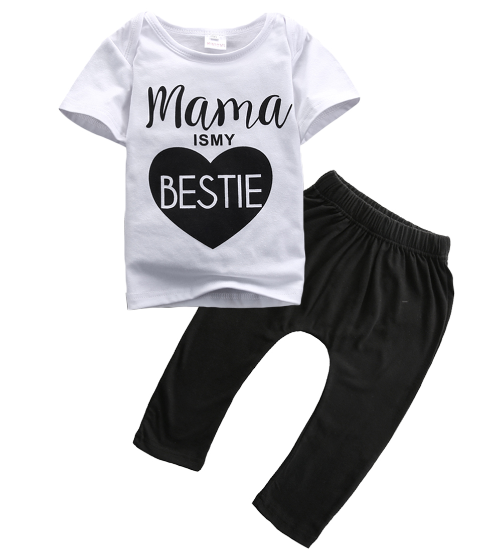 Newborn Baby Boys Girls Mama Bestie Summer outfits Kids Casual Cotton letter T-shirt Tops+Long Pants Outfit Clothes Set 0-24M 2016 love kids baby boys summer sleeveless t shirt cotton tops clothes