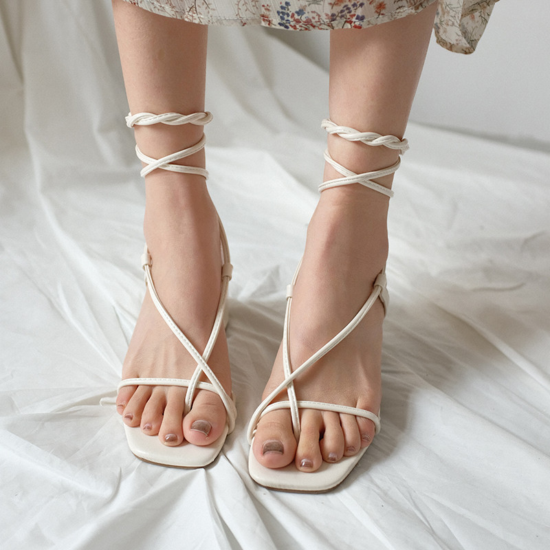 2019 New Nude Color Lace Square Head Strap High Heel Cross Straps With Roman Sandals -3718