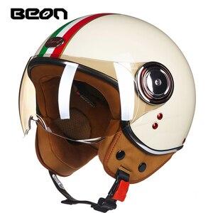 Image 1 - Beon Moto Rcycle Scooter Helm 3/4 Open Gezicht Halmet Moto Cross Vintage Casque Moto Casque Casco Moto Cicleta Capacete 110b