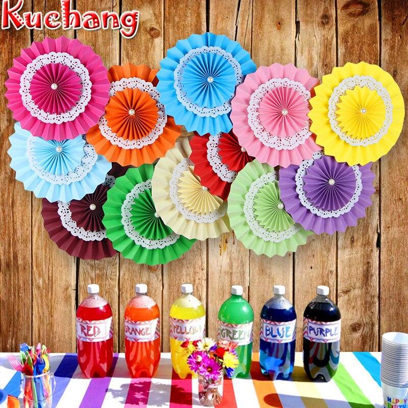 New 5pcs Tissue Paper Fan Diy Crafts Hanging Wedding: 10pcs 25cm Colorful Wheel Tissue Paper Fans Flowers Balls