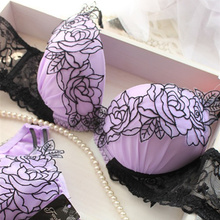 2017 lace embroidery petals temptation young girl bra set push up adjustable underwear insert brassiere set