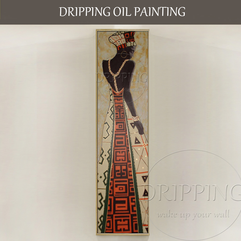 Artist Hand painted Luxury Wall Art Beautiful African Woman Oil Painting for Living Room Modern African Woman Portrait Painting