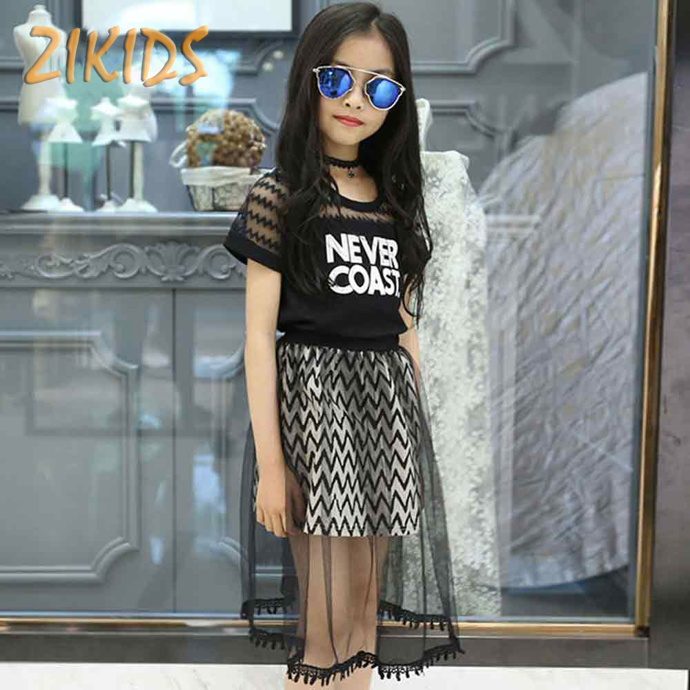 Girls Clothing Sets Summer 2017 Letter Printing T-shirts+Mesh Skirts Kids Children Clothes Casual Sport 2pcs Set Teenage Costume