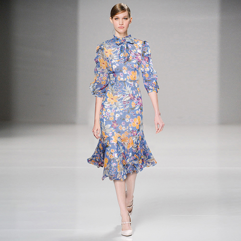 HIGH QUALITY Newest Fashion Runway 2019 Designer Dress Women s Half Sleeve Charming Floral Print Mermaid