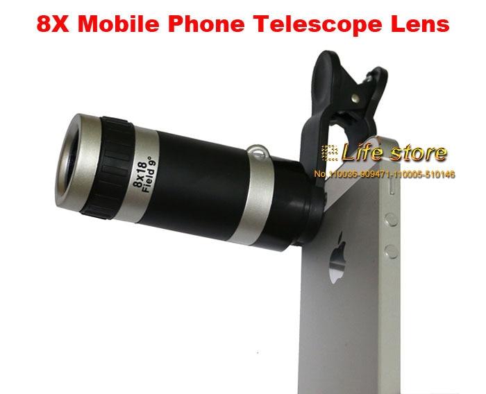 Universal 8x zoom lens mobile phone clip lens telescope lens for lg