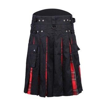 MJartoria 2019 Мужская Талия Повседневная юбка брюки однотонный плед панк хип-хоп Avant Garde мужские модные Шотландский Килт, Мужская одежда