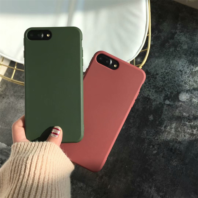 Froste TPU soft mobilephone case for iPhone8 iPhone7 case 6 6s 5 SE 5S XS MAX XR XS X 7 plus 8 plus Military green Coffee case