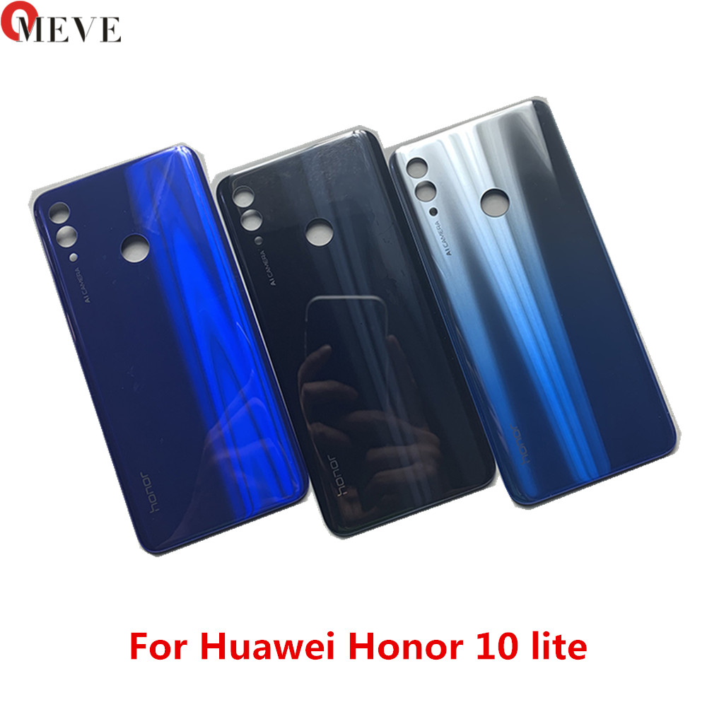 Glass Battery Back Cover Panel Rear Cover For Honor 10 lite Battery Cover Housing Door Replacement battery door image