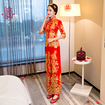 Red embroidery Chinese Traditional Cheongsam Sexy Qipao Dresses Long Wedding Dress Oriental Wedding Gowns Bride Traditions
