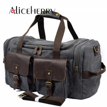 купить Canvas Leather Travel Bag Carry on Luggage Bags Men Military Duffel Bags Travel Tote Large Weekend Bag bolsa de viagem masculina дешево
