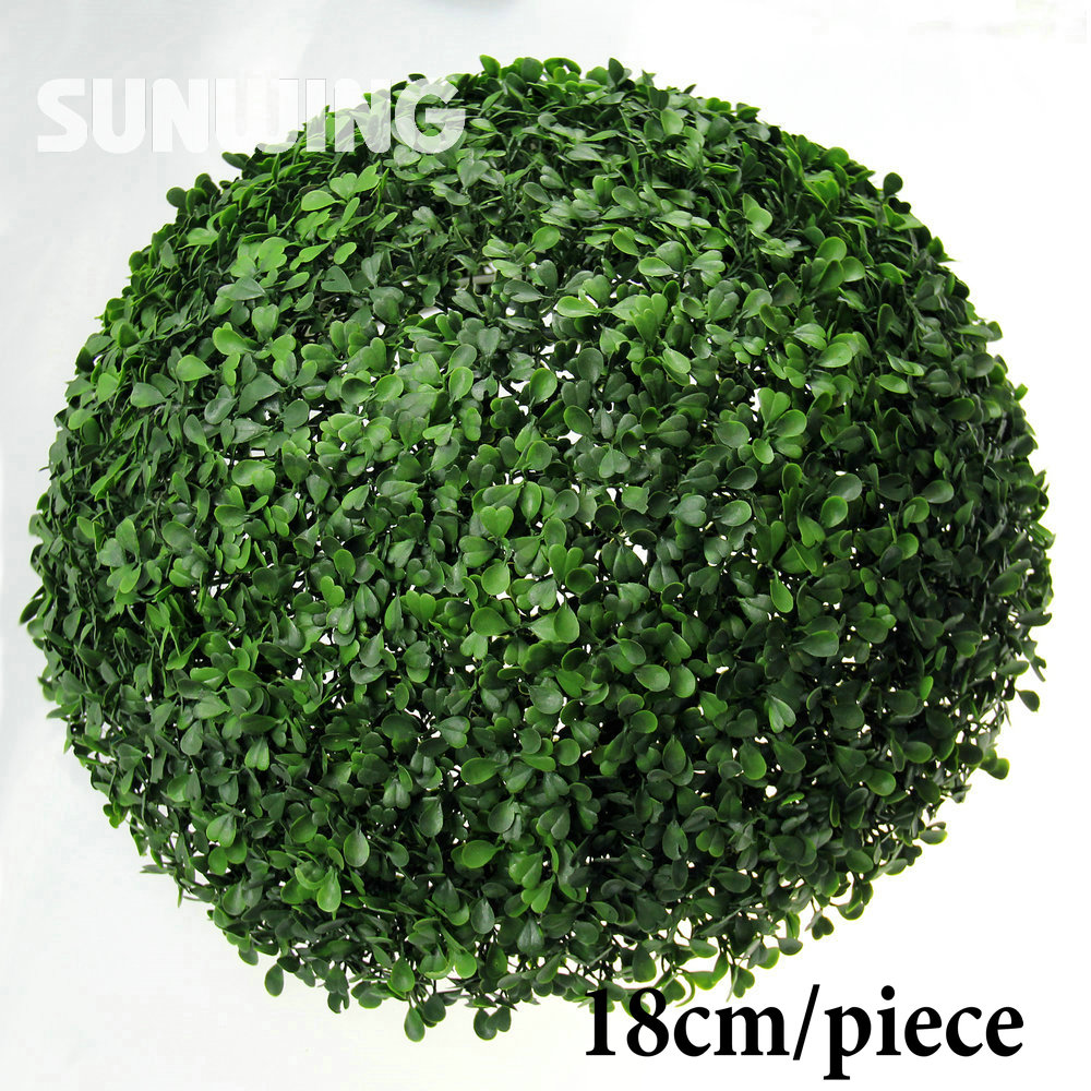 Decorative garden ornaments - 18cm Artificial Boxwood Ball Plastic Grass Ball Garden Ornaments Plastic Indoor Plants Wedding Chrismas Decoration
