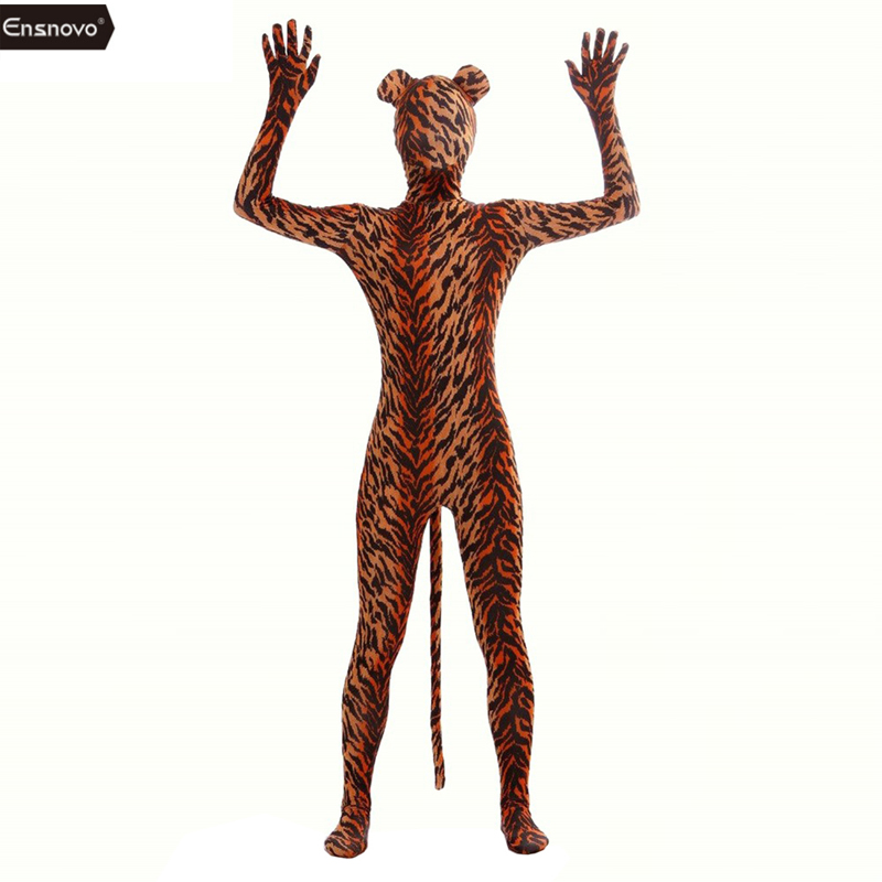 Ensnovo Spandex Tiger Costume Cosplay Zentai Zebra Leopard Bodysuit Unitard Body Suites Stretch Lycra Full Body Costumes