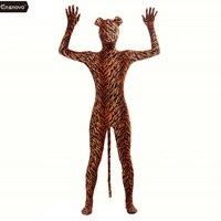 Ensnovo Adult Full Body Lycra Spandex Tiger Zentai Suit Costumes