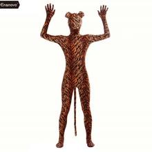 Ensnovo elastan tygrys kostium Cosplay Zentai Zebra Leopard Body Unitard kombinezon Stretch Nylon Full Body stroje zwierząt