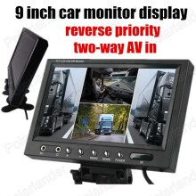 hot sale backup Rearview camera Reverse priority with 2 AV in  9 Inch Ultra Big color TFT LCD Car Monitor display