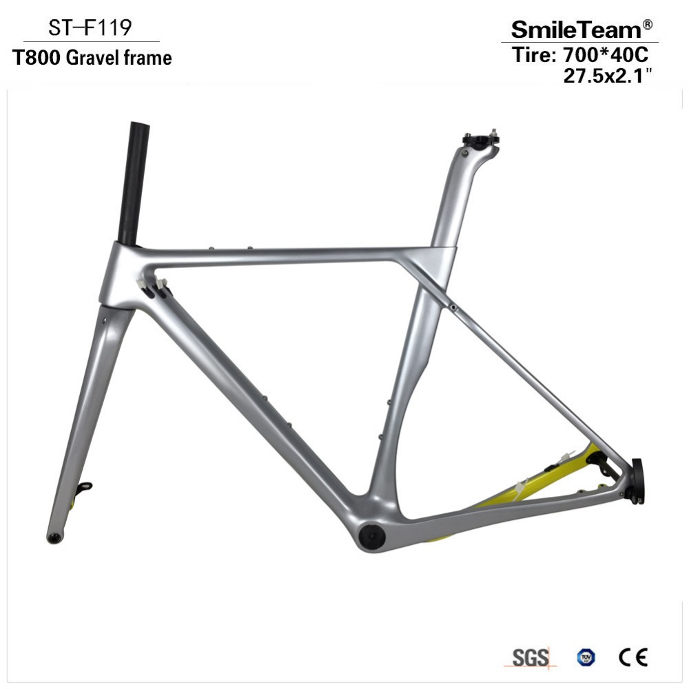 Smileteam New Silver Road MTB Gravel Carbon Bike Frame Carbon Gravel Frame Cyclocross Disc Bike Frame With Thru Axle 100/142mm 2017 flat mount disc carbon road frames carbon frameset bb86 bsa frame thru axle front and rear dual purpose carbon frame
