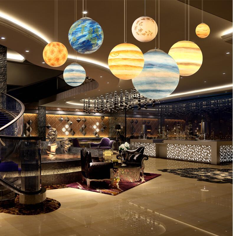 Nordic Creative Universe Planet Acrylic Pendant Light Moon
