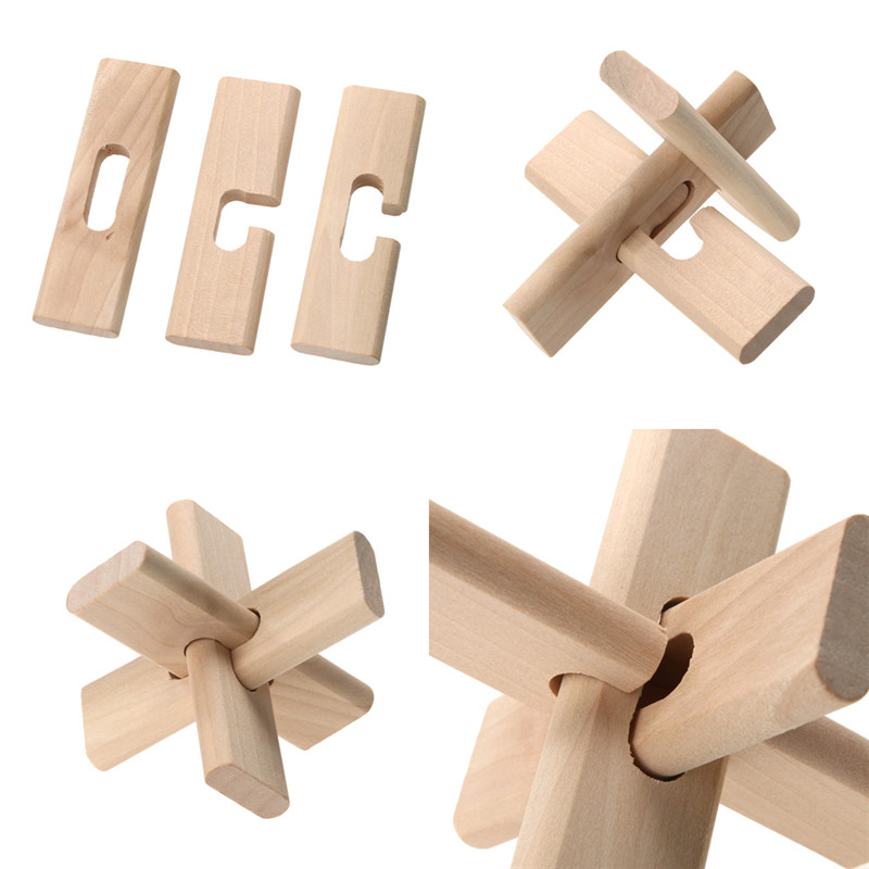 Kids Classical IQ Brain Teaser Puzzle Toy 3 Wooden Sticks Kong Ming Lock Classical Wooden Puzzle Lock Children Educational Toys