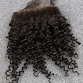 Barato Virgem Cabelo Kinky Curly Brasileiro Lace Encerramento Nós Descorados Para Venda 4*4 Cor Natural Afro Kinky Curly Fechamento cabelo