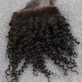Barato Virginal Del Pelo Brasileño Rizado Rizado Lace Closure Nudos Blanqueados Venta 4*4 Color Natural Afro Rizado Rizado Encierro del pelo