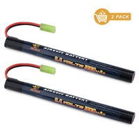 MELASTA 2Pack 8 4V 1350mAh Stick Mini NiMH Battery Pack With Mini Tamiya Connector For Upgraded