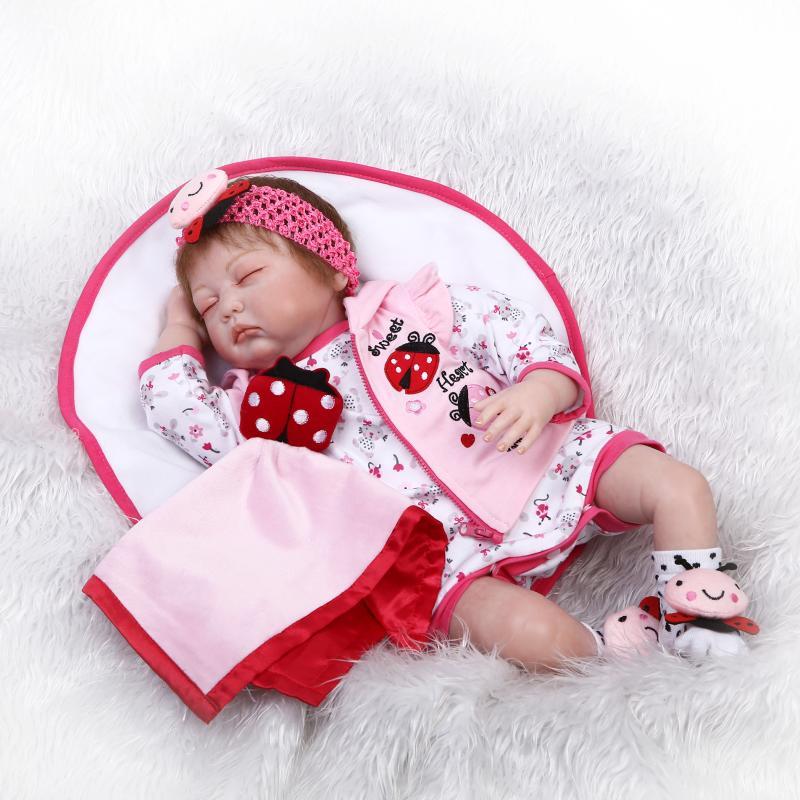 NPKCOLLECTION Reborn Baby Doll 22 реалистично силиконовые новорожденных закрытыми глазами реального прикосновения мягкой тканью тела Bebe Bonecas