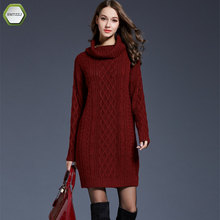 SMTZZJ font b 2018 b font Luxury Casual Turtleneck Knitted Sweater Dress Women Cotton Slim Bodycon