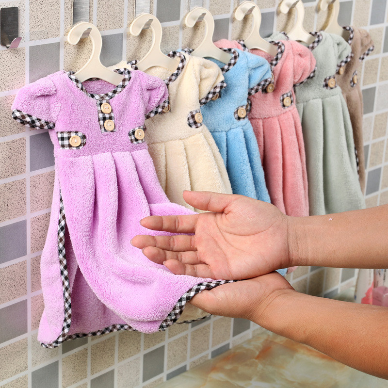 1PC Cute Dress Hand Towel For Kids Chidren Microfiber Absorbent Hand Dry Towel Kitchen Bathroom Soft Plush Dishcloths