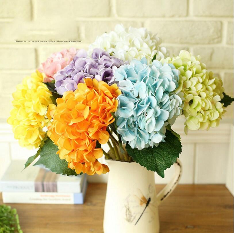 5 PCS/lot Simulation Hydrangea For Home Wedding hand holding Hydrangea Artificial silk flower Hydrangea bouquet