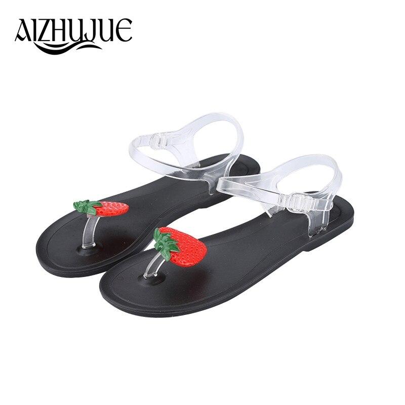 AIZHUJUE Women 2018 Sandals Fruit Jelly Slippers Sandals Women Shoes Girls Summer Beach Flat Sandals Flip Flops 2016 new color crystal jelly women sandals female women flip flops women slippers beach sandals