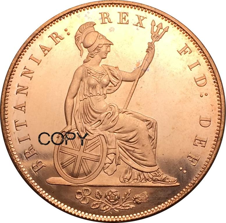 بريطانيا العظمى 1 قرش 1826 جورج IV الأحمر النحاس نسخ عملات coin coins coin copycoin copper - AliExpress