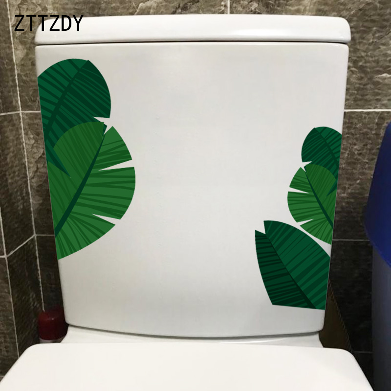 ZTTZDY 22.3*24CM Green Plant Leaves Creative Toilet Sticker Bathroom Decor Home Wall Decal T2 0079-in Wall Stickers from Home & Garden on Aliexpress.com | Alibaba Group